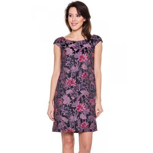 Żakardowa sukienka w kolorze różowym - Bialcon, rozmiar 38, różowy