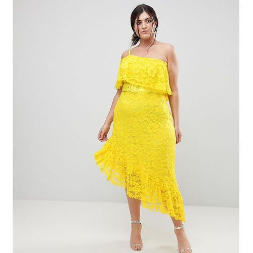 Asos curve one shoulder asymmetric lace midi skater dress with belt - yellow