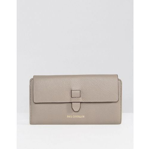 Paul Costelloe Real Leather Fold Over Purse with Tab Closure in Taupe - Brown, kolor brązowy
