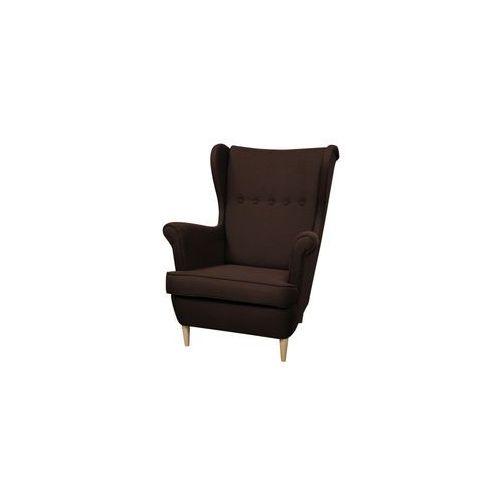 ••• Fotel Uszak Kamea ciemny brązowy – WYBÓR KOLORU NÓŻEK – PROMOCJA – DARMOWA DOSTAWA •••, kolor brązowy