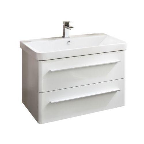 Lanzet Biała szafka z ceramiczną umywalką 80 cm K8 - 80 cm \ Biały wysoki połysk