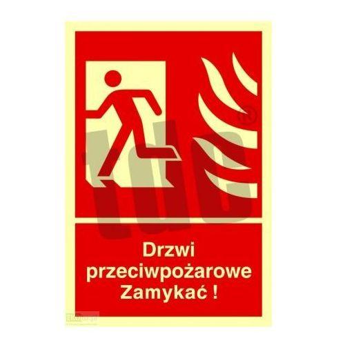 Drzwi przeciwpożarowe. zamykać! kierunek drogi ewakuacyjnej w lewo art. bb011 marki Tdc