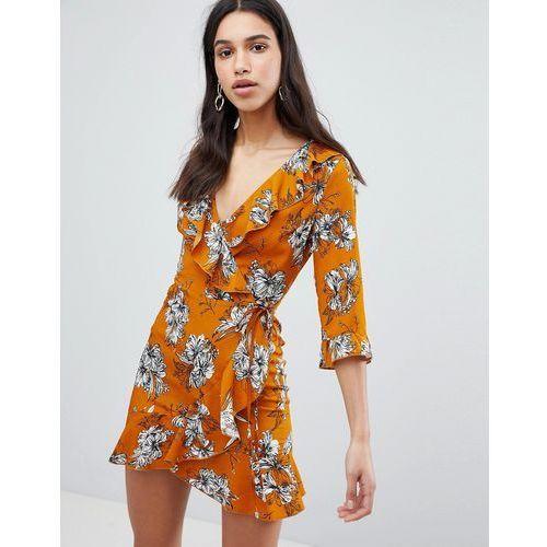 Parisian floral print 3/4 sleeve ruffle wrap dress - yellow
