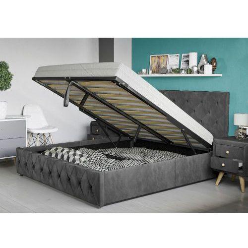 Łóżko z materacem tapicerowane 160x200 sfg007a welur popiel marki Meblemwm