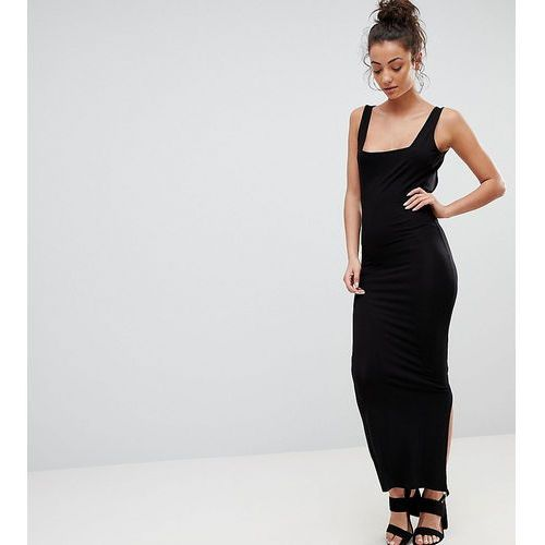 ASOS DESIGN Tall square neck city maxi bodycon dress - Black, kolor czarny