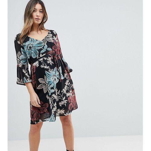 Mamalicious Botanic Printed Dress With Frill Sleeve - Multi, w 2 rozmiarach