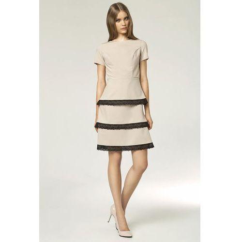 Nife Sukienka z koronkami - beż - s43