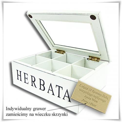 Szkatułka drewniana na herbatę z możliwością grawerowania dedykacji, życzeń... z kategorii Na parapetówkę dla nich