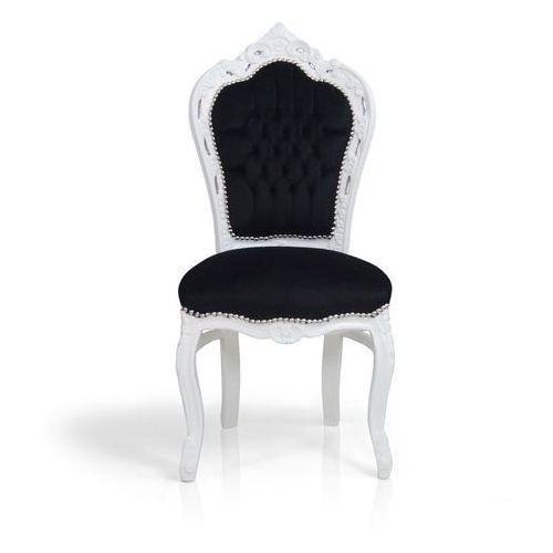 Stylowe, dekoracyjne krzesło Kair, biała, drewniana rama, czarne, welurowe obicie.