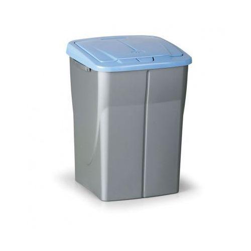 Kosz na odpadki (sz x gł x wys): 37x 36,5 x 51,5 cm, 45l, niebieskie wieko, kolor srebrny