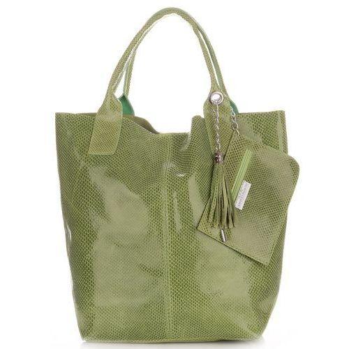 a7253037f0e3b Genuine leather Shopperbag modna torebka skórzana lakier butelkowa zieleń  (kolory)