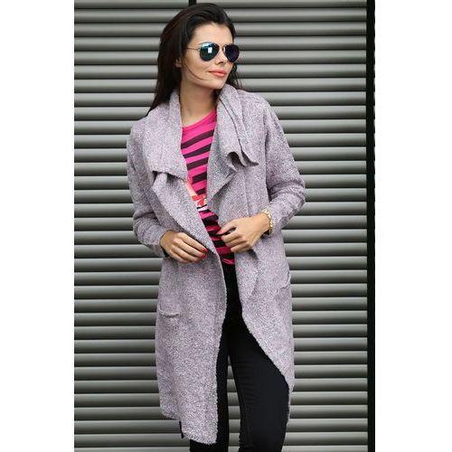"""Sweter z paskiem fioletowy model """" 004A"""" - fioletowy"""