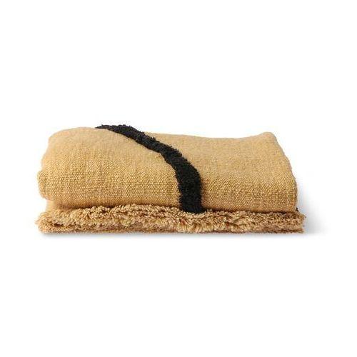 miękko tkany pled z czarnymi naszytymi liniami, ochra (130x170) tts1034 marki Hkliving