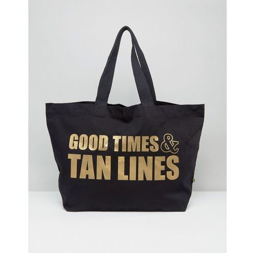 Crazy Haute 100% Organic Fairtrade Cotton Good Times And Tan Lines XL Travel Tote Bag - Black