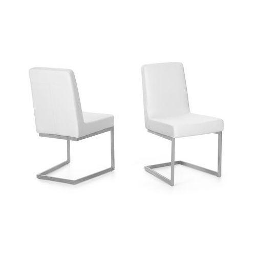 Krzesło ze stali szlachetnej - białe - tapicerowane - do jadalni - do kuchni - ARCTIC