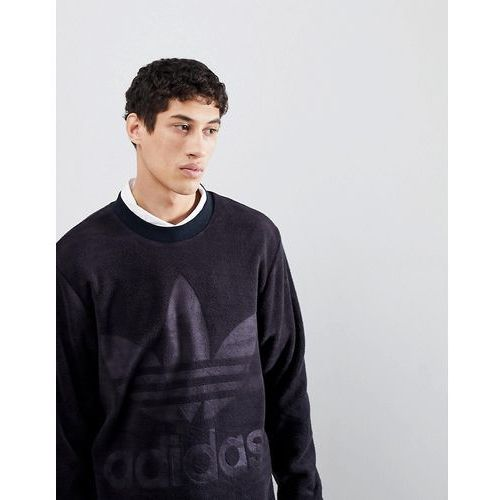 adicolor velour sweatshirt in oversized fit in black cy3551 - black marki Adidas originals