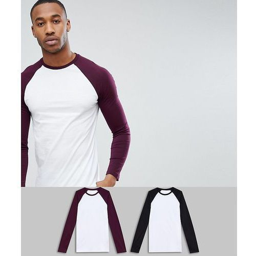 ASOS DESIGN Long Sleeve Raglan T-Shirt With Contrast Sleeves 2 Pack SAVE - Multi, 1 rozmiar