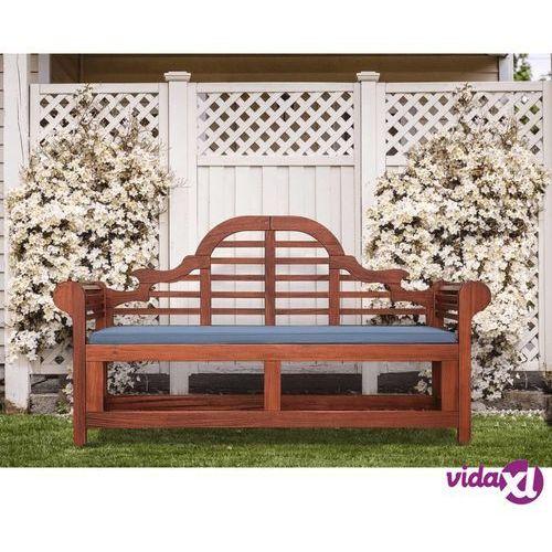 Beliani Ławka ogrodowa ciemne drewno z poduszką białą TOSCANA Marlboro
