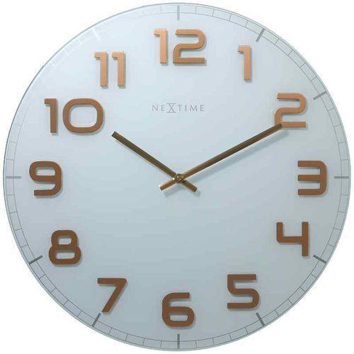 NeXtime Zegar ścienny biało - miedziany - 'Classy Large'