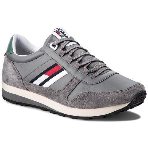 Sneakersy TOMMY JEANS - Retro Runner Sneaker EM0EM00165 Steel Grey 039, kolor szary