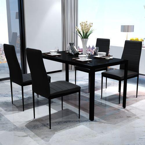 Vidaxl  zestaw czarny stół jadalniany oraz 4 krzesła o współczesnym wyglądzie (8718475888697)