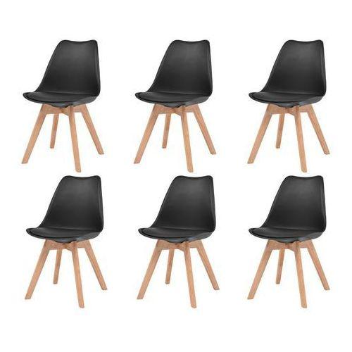 Vidaxl Krzesła do jadalni, 6 szt., sztuczna skóra, lite drewno, czarne