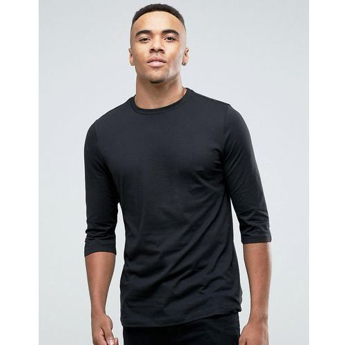 top with 3/4 length sleeves and curved hem in black - black, marki New look