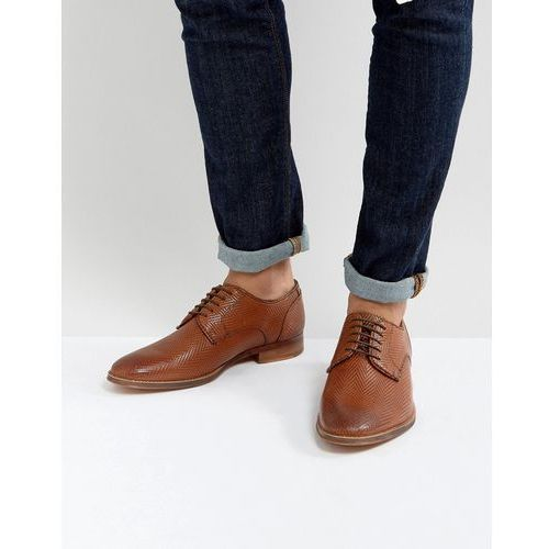 Asos derby shoes in tan leather with all over texture emboss - tan