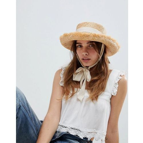 Asos design natural raw edge straw hat with chin tie and size adjuster - beige