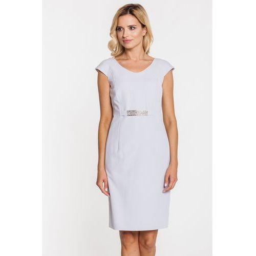 Sukienka z ozdobnym wszywanym paskiem - Metafora, kolor szary