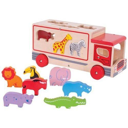 Bigjigs toys Ciężarówka ze zwierzątkami - sorter zoo do zabawy dla dzieci, bigjigs
