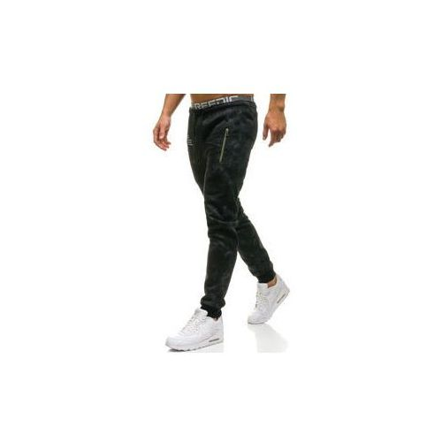 Spodnie męskie dresowe joggery czarne Denley W1552