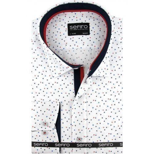 Koszula Męska Sefiro biała we wzory SLIM FIT na spinki lub guzik A099, kolor różowy