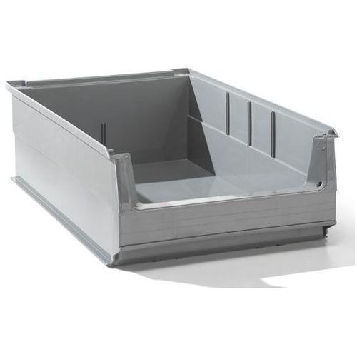 Przejrzysty pojemnik magazynowy z recyrkulowanego pe, poj. 16 l, szary, opak. 14 marki Lockweiler plastic werke