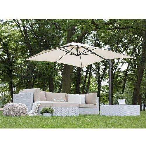Beliani Parasol ogrodowy 250 x 250 x 235 cm beżowy/ciemnoszary monza (4260602371038)