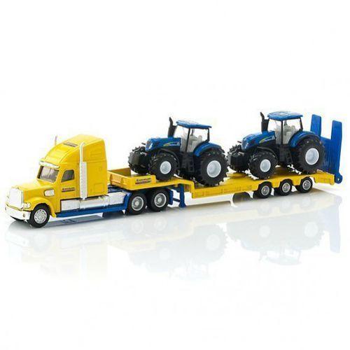 Ciężarówka z traktorami new holland marki Siku