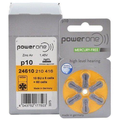 120 x baterie do aparatów słuchowych power one 10 mf marki Varta