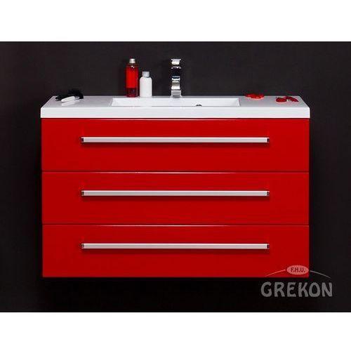 Gante Czerwona szafka wisząca z umywalką 100/39/3 seria fokus cz