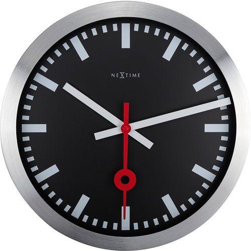 Zegar ścienny Station czarny cyferblat Nextime 35 cm (3999 STZW), kolor czarny