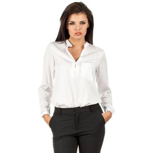 Biała Elegancka Koszulowa Bluzka ze Stójką