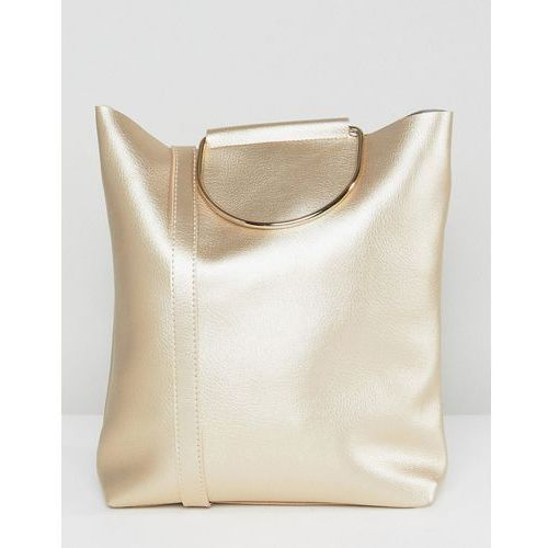 Yoki fashion d-ring tote bag with shoulder strap in pearlised gold - gold