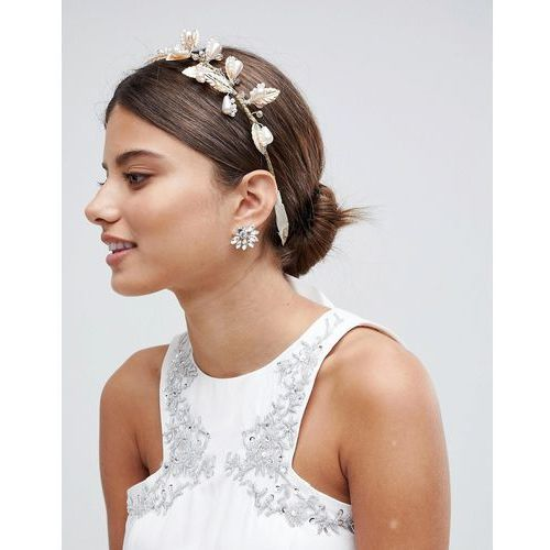 LoveRocks London Gold Leaf & Pearl Hair Crown - Gold