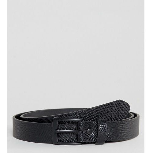 ASOS PLUS Smart Slim Belt With Cross Stitch Emboss In Black Faux Leather - Black