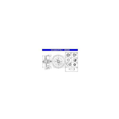 ATE Bęben hamulcowy - 24.0220-0718