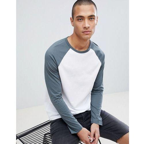 Burton Menswear Raglan Long Sleeve T-Shirt In Dark Grey And White - Silver