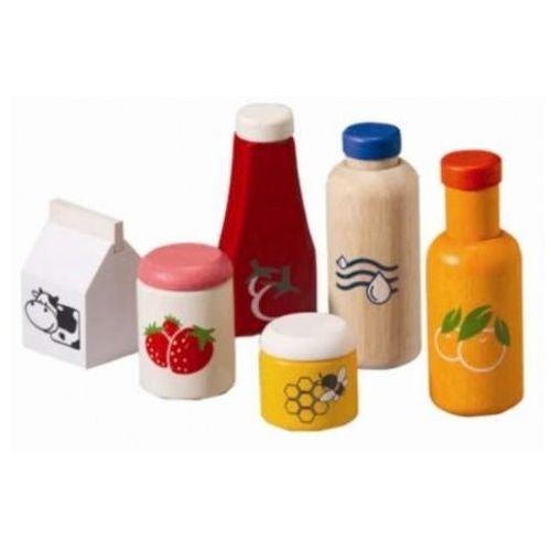 Plan toys Drewniany zestaw jedzenia i napojów - zabawa w sklep i dom,