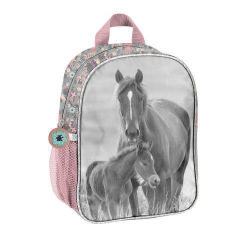Mały plecak szkolny szaro-różowy 3Y38EL