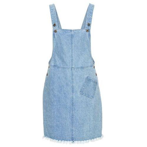 Sukienka ogrodniczka z ozdobnie postrzępionym dołem jasnoniebieski