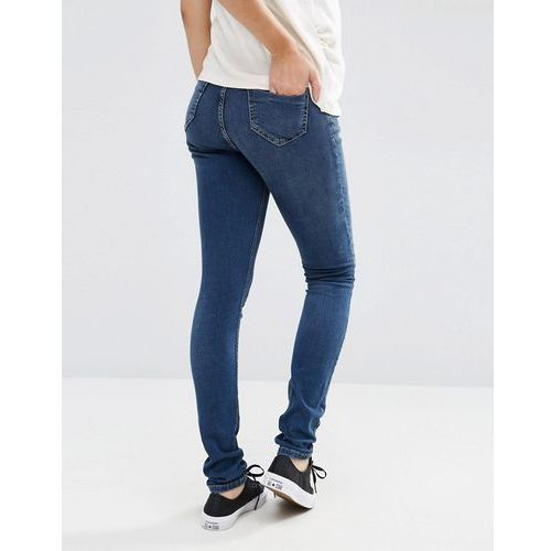 petite ridley skinny jean in midwash with over the bump waistband - blue, marki Asos maternity