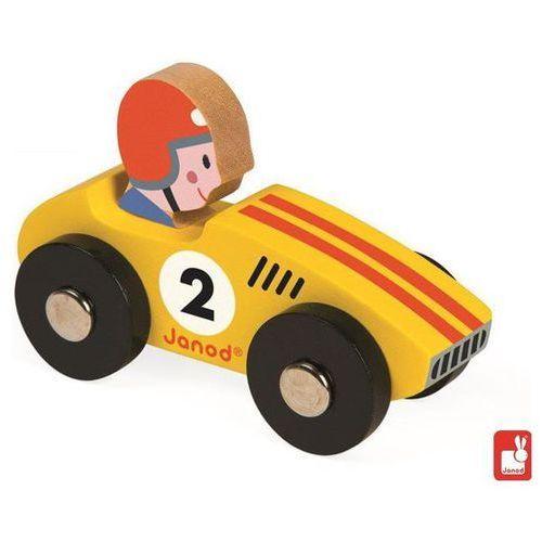 JANOD Wyścigówka drewniana Racer,żółta - Wyścigówka drewniana Racer,żółta